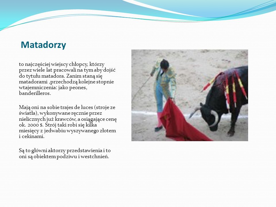 Matadorzy to najczęściej wiejscy chłopcy, którzy przez wiele lat pracowali na tym aby dojść do tytułu matadora. Zanim staną się matadorami,przechodzą