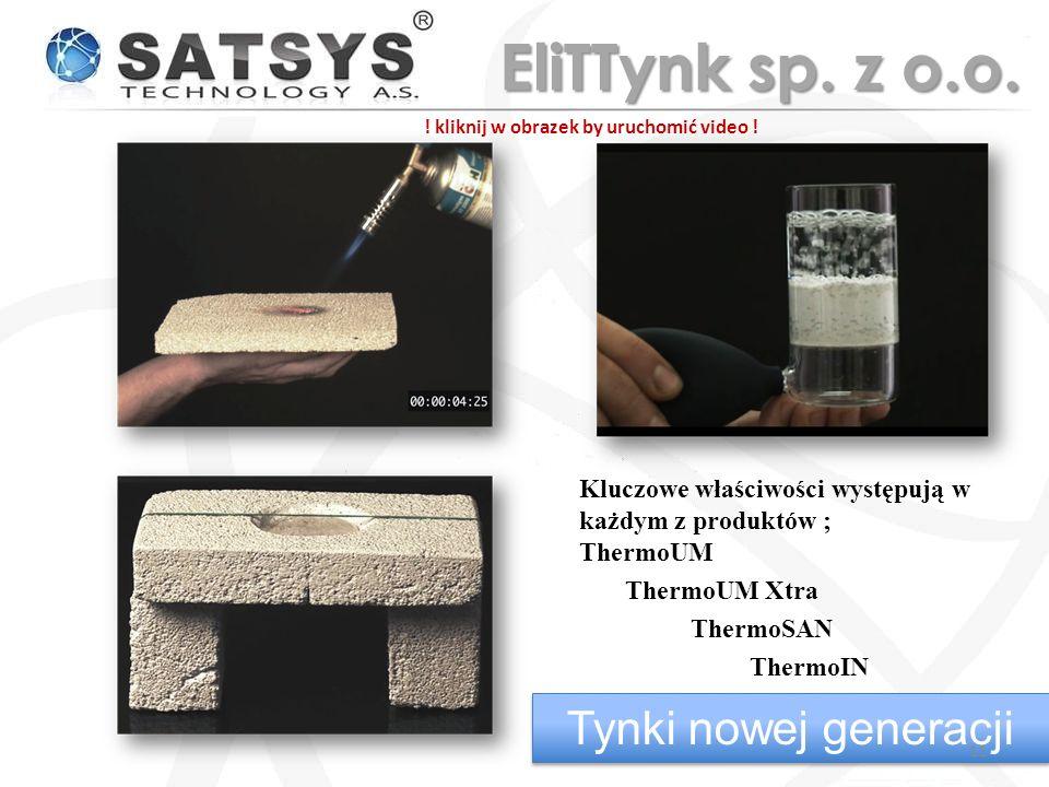 Kluczowe właściwości występują w każdym z produktów ; ThermoUM ThermoUM Xtra ThermoSAN ThermoIN Tynki nowej generacji 11 EliTTynk sp.