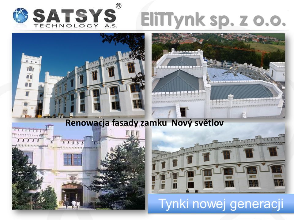 Renowacja fasady zamku Nový světlov Tynki nowej generacji 22 EliTTynk sp. z o.o.