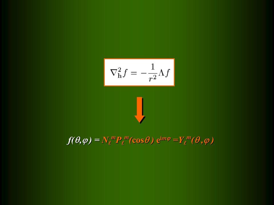 f(, ) = N m P m (cos ) e im =Y m (, ) f(, ) = N m P m (cos ) e im =Y m (, )