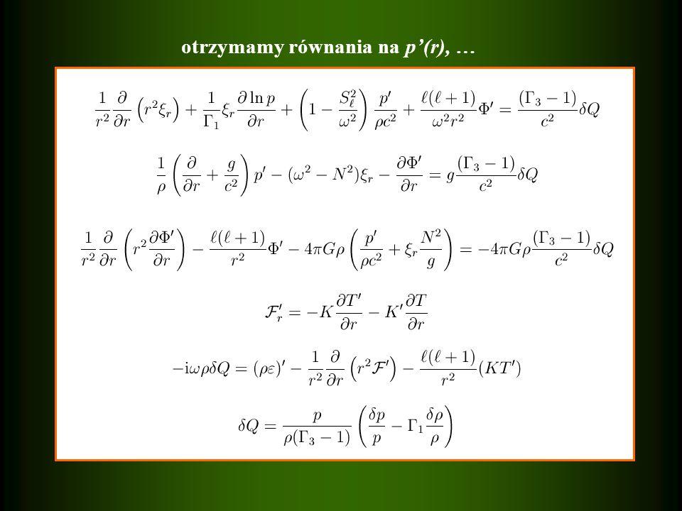 otrzymamy równania na p(r), …