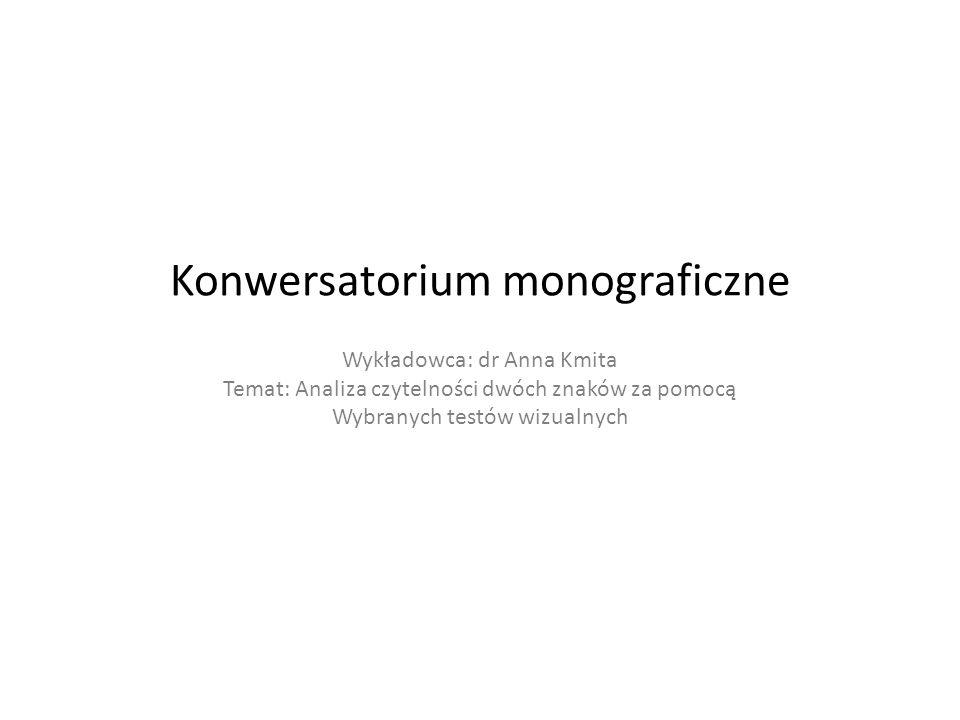 Konwersatorium monograficzne Wykładowca: dr Anna Kmita Temat: Analiza czytelności dwóch znaków za pomocą Wybranych testów wizualnych