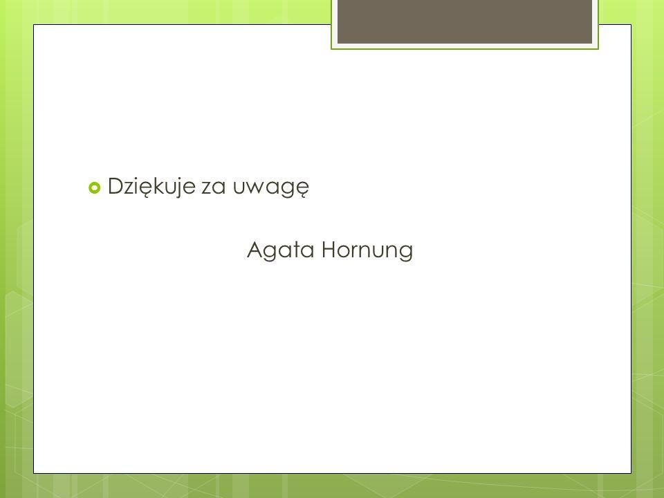 Dziękuje za uwagę Agata Hornung