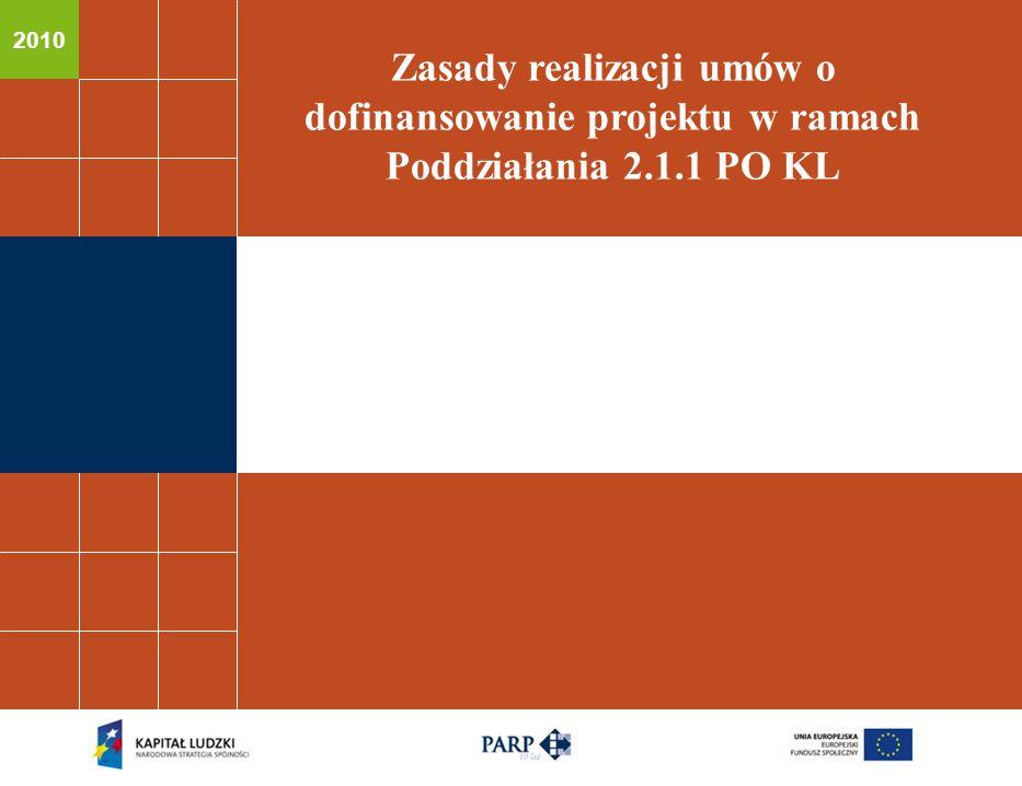 2010 Zasady realizacji umów o dofinansowanie projektu w ramach Poddziałania 2.1.1 PO KL