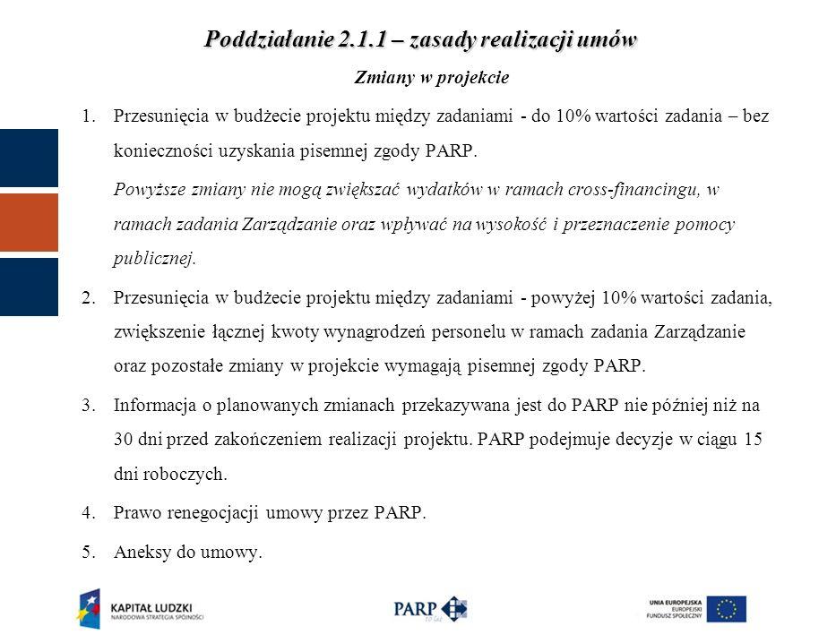 Poddziałanie 2.1.1 – zasady realizacji umów Zmiany w projekcie 1.Przesunięcia w budżecie projektu między zadaniami - do 10% wartości zadania – bez konieczności uzyskania pisemnej zgody PARP.