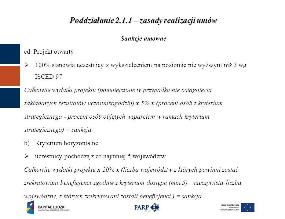 Poddziałanie 2.1.1 – zasady realizacji umów Sankcje umowne cd.