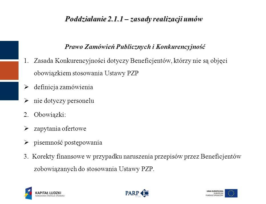 Poddziałanie 2.1.1 – zasady realizacji umów Obowiązki informacyjne 6.Materiały promocyjne – małe formy - powinny zawierać obowiązkowo: a) logo PO KL b) flaga Unii Europejskiej c) odwołanie słowne do Unii Europejskiej Opcjonalnie: a) Logo PARP 7.Beneficjent zobowiązany jest do przesłania w wersji elektronicznej do PARP projektów materiałów promocyjnych.
