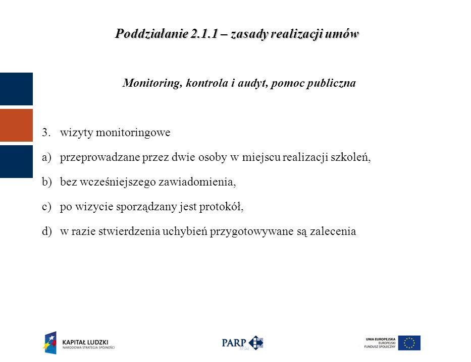 Poddziałanie 2.1.1 – zasady realizacji umów Monitoring, kontrola i audyt, pomoc publiczna IV.Audyt – przeprowadzenie zgodnie z zapisami Załącznika 2 do Zasad realizacji projektu: 1.cele audytu 2.minimalne kwalifikacje audytora 3.wymagania odnośnie sposobu pracy 4.zakres ogólny i szczegółowy audytu 5.wymagania dotyczące raportu z audytu Termin – w okresie ostatnich 2 miesięcy przed zakończeniem realizacji projektu.