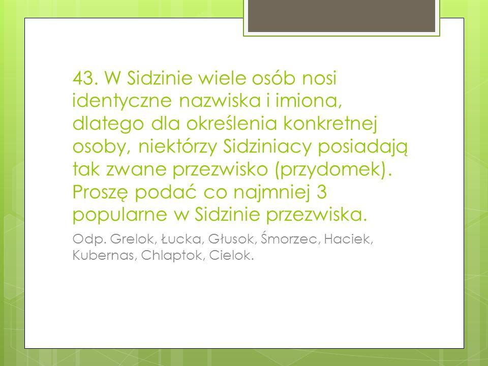 43. W Sidzinie wiele osób nosi identyczne nazwiska i imiona, dlatego dla określenia konkretnej osoby, niektórzy Sidziniacy posiadają tak zwane przezwi