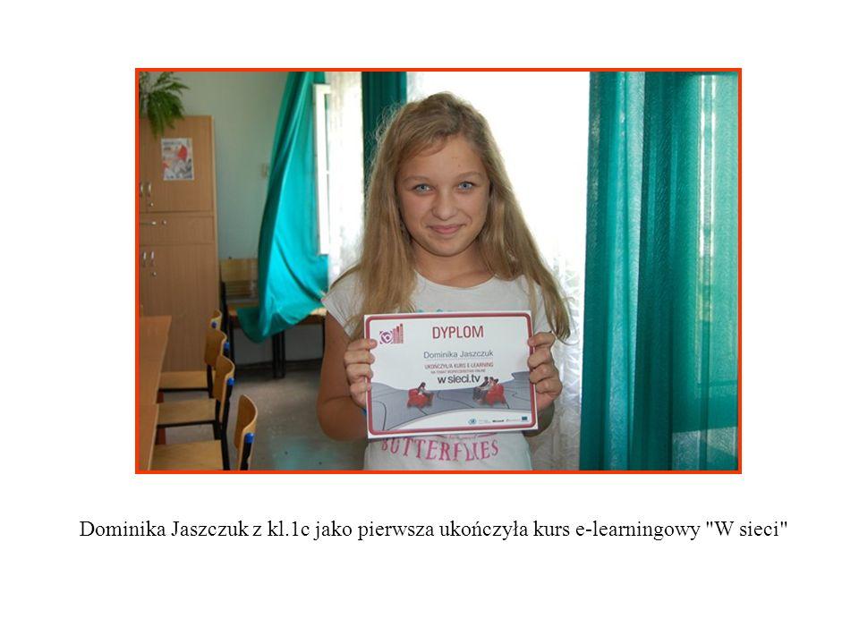Dominika Jaszczuk z kl.1c jako pierwsza ukończyła kurs e-learningowy W sieci
