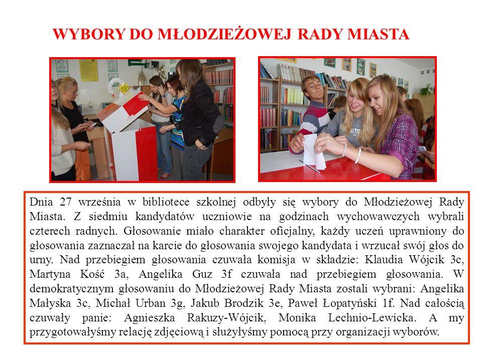Dnia 27 września w bibliotece szkolnej odbyły się wybory do Młodzieżowej Rady Miasta. Z siedmiu kandydatów uczniowie na godzinach wychowawczych wybral