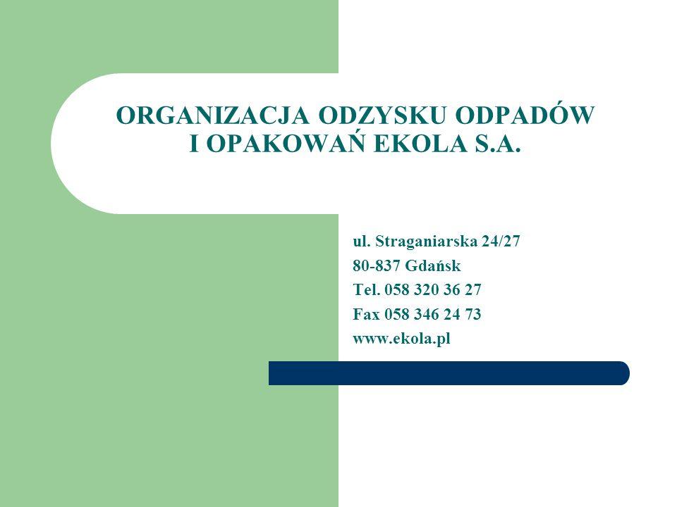 ORGANIZACJA ODZYSKU ODPADÓW I OPAKOWAŃ EKOLA S.A. ul. Straganiarska 24/27 80-837 Gdańsk Tel. 058 320 36 27 Fax 058 346 24 73 www.ekola.pl