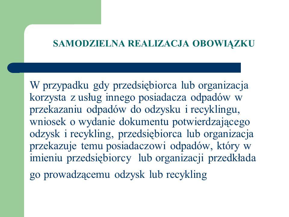 W przypadku gdy przedsiębiorca lub organizacja korzysta z usług innego posiadacza odpadów w przekazaniu odpadów do odzysku i recyklingu, wniosek o wyd