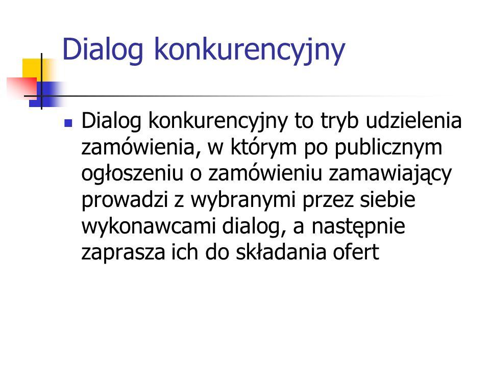 Dialog konkurencyjny Dialog konkurencyjny to tryb udzielenia zamówienia, w którym po publicznym ogłoszeniu o zamówieniu zamawiający prowadzi z wybrany