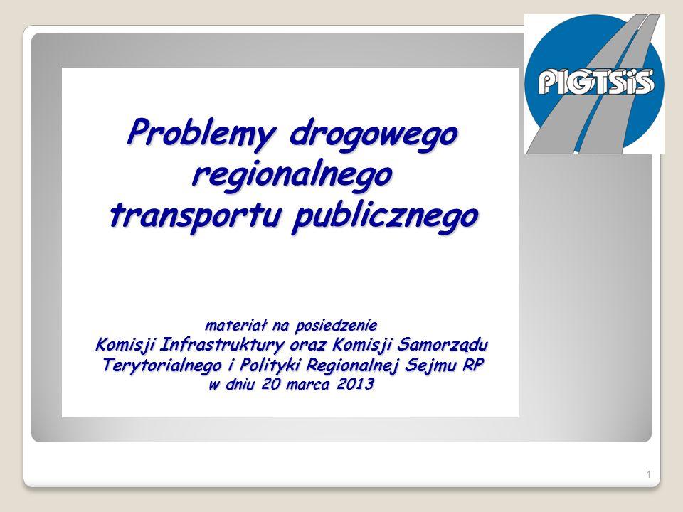 Problemy drogowego regionalnego transportu publicznego materiał na posiedzenie Komisji Infrastruktury oraz Komisji Samorządu Terytorialnego i Polityki