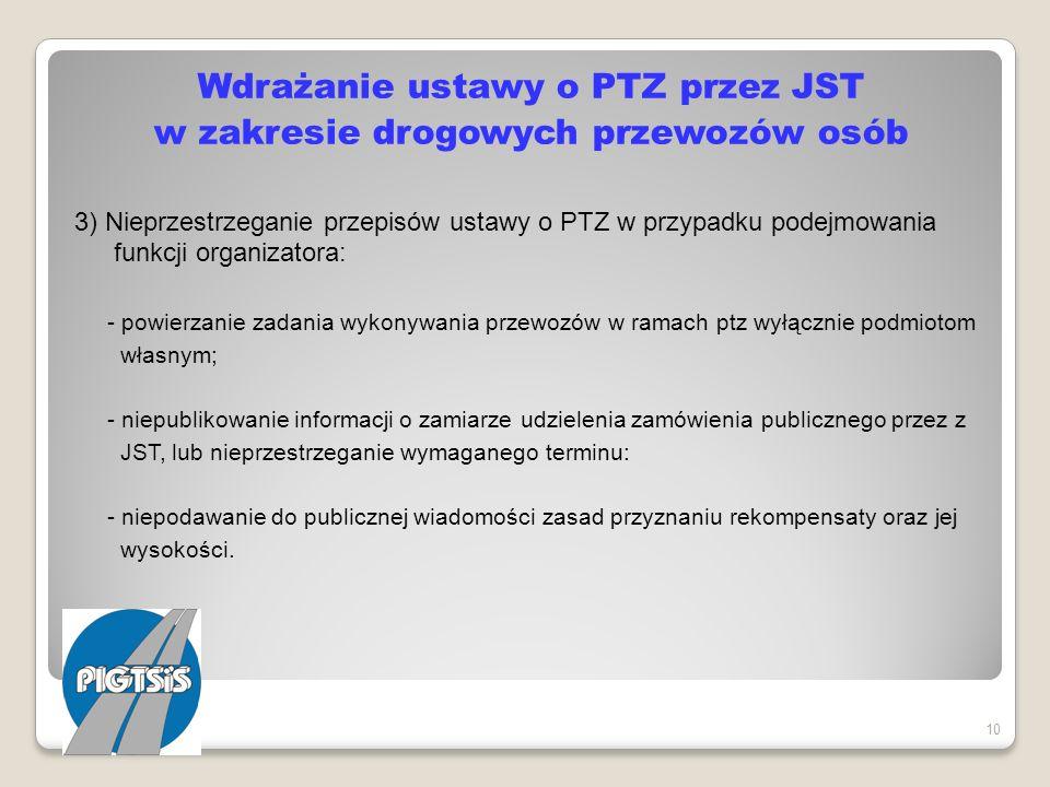 Wdrażanie ustawy o PTZ przez JST w zakresie drogowych przewozów osób 3) Nieprzestrzeganie przepisów ustawy o PTZ w przypadku podejmowania funkcji orga