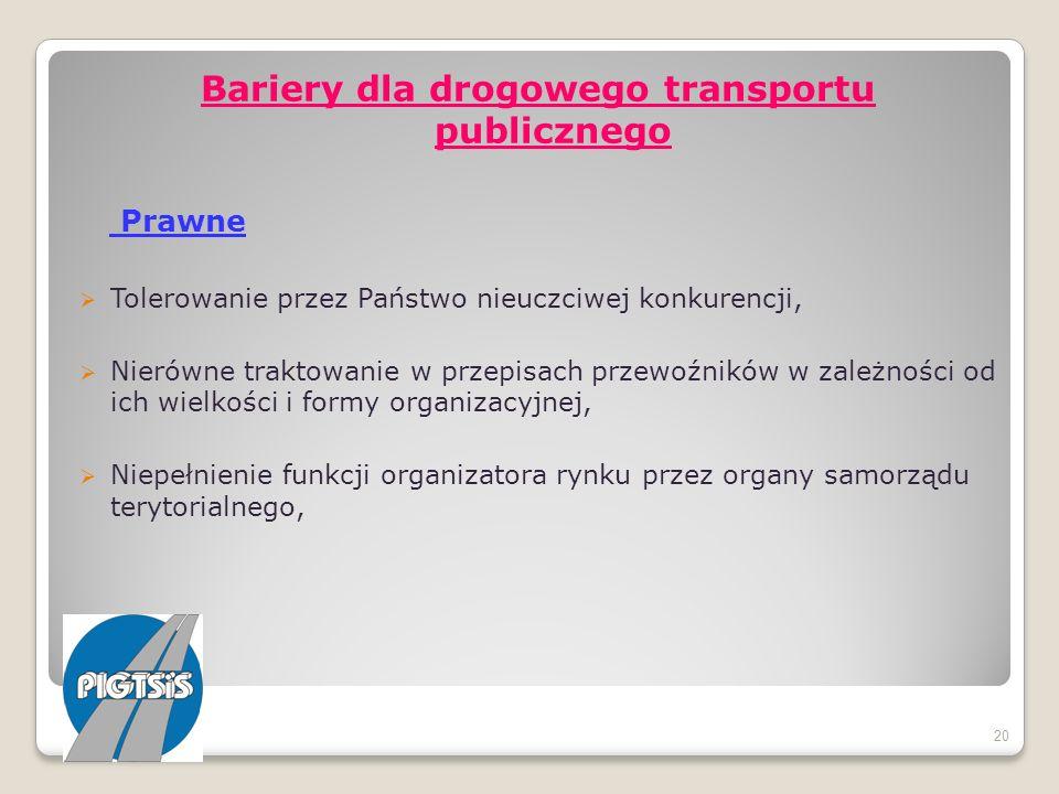 Bariery dla drogowego transportu publicznego Prawne Tolerowanie przez Państwo nieuczciwej konkurencji, Nierówne traktowanie w przepisach przewoźników
