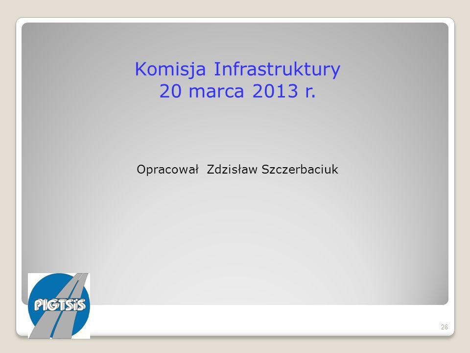 Komisja Infrastruktury 20 marca 2013 r. Opracował Zdzisław Szczerbaciuk 26