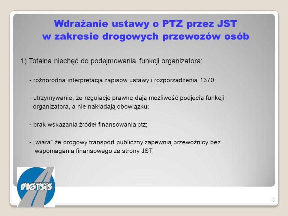 Wdrażanie ustawy o PTZ przez JST w zakresie drogowych przewozów osób 1) Totalna niechęć do podejmowania funkcji organizatora: - różnorodna interpretac