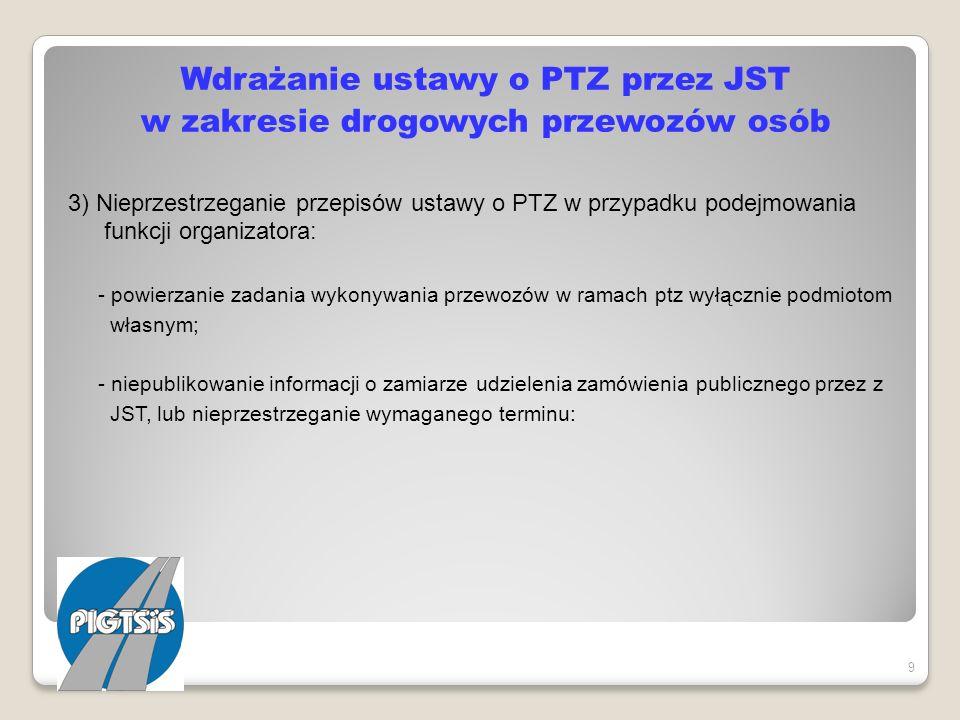 Wdrażanie ustawy o PTZ przez JST w zakresie drogowych przewozów osób 3) Nieprzestrzeganie przepisów ustawy o PTZ w przypadku podejmowania funkcji organizatora: - powierzanie zadania wykonywania przewozów w ramach ptz wyłącznie podmiotom własnym; - niepublikowanie informacji o zamiarze udzielenia zamówienia publicznego przez z JST, lub nieprzestrzeganie wymaganego terminu: - niepodawanie do publicznej wiadomości zasad przyznaniu rekompensaty oraz jej wysokości.