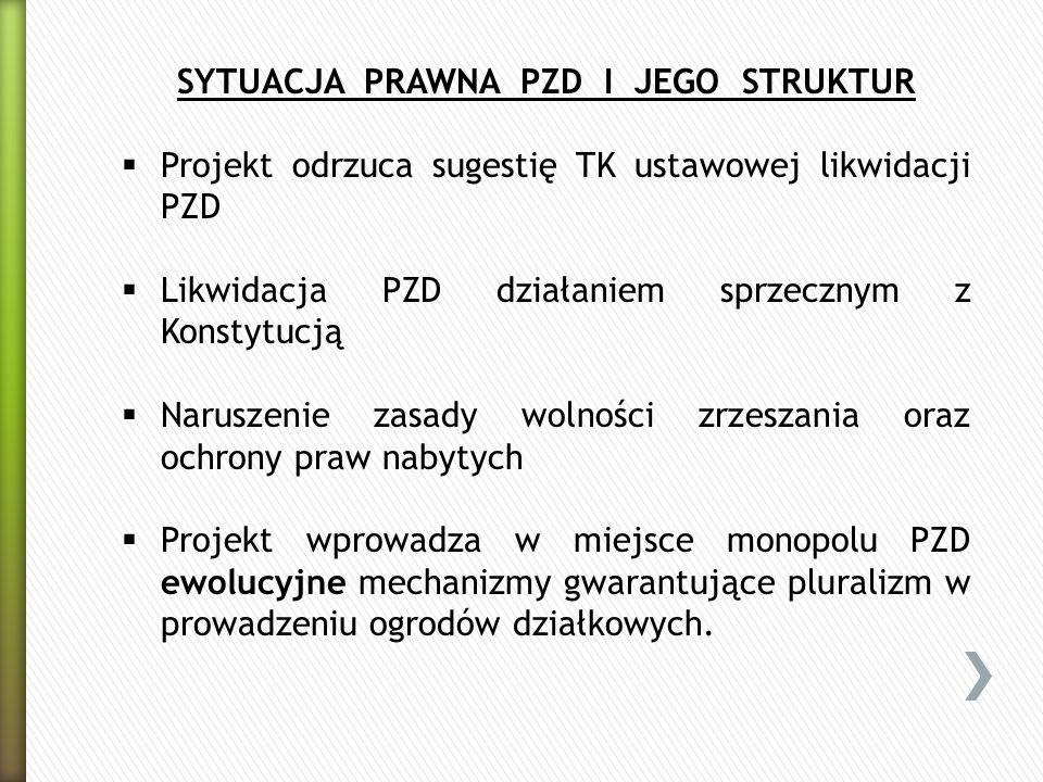 SYTUACJA PRAWNA PZD I JEGO STRUKTUR Projekt odrzuca sugestię TK ustawowej likwidacji PZD Likwidacja PZD działaniem sprzecznym z Konstytucją Naruszenie
