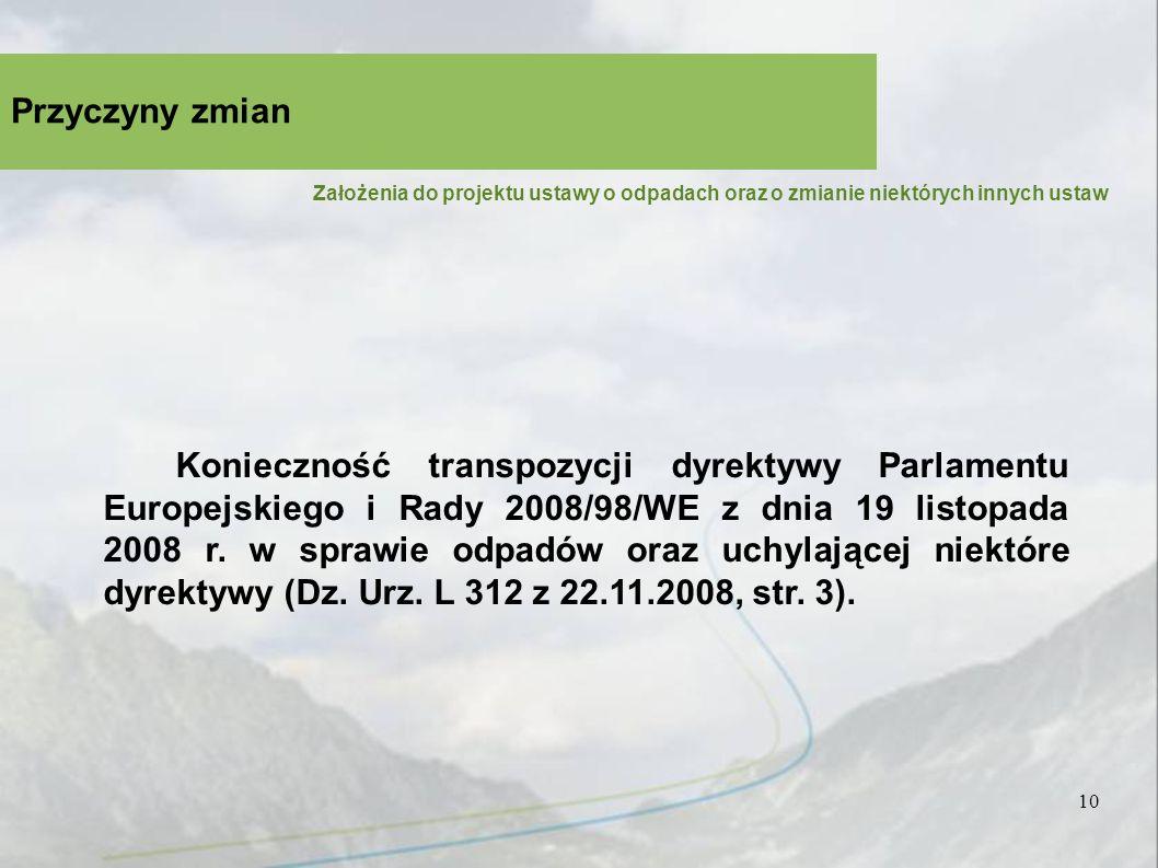 10 Przyczyny zmian Założenia do projektu ustawy o odpadach oraz o zmianie niektórych innych ustaw Konieczność transpozycji dyrektywy Parlamentu Europejskiego i Rady 2008/98/WE z dnia 19 listopada 2008 r.