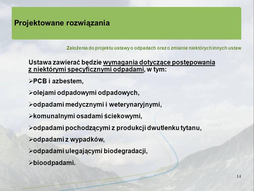 14 Projektowane rozwiązania Założenia do projektu ustawy o odpadach oraz o zmianie niektórych innych ustaw Ustawa zawierać będzie wymagania dotyczące postępowania z niektórymi specyficznymi odpadami, w tym: PCB i azbestem, olejami odpadowymi odpadowych, odpadami medycznymi i weterynaryjnymi, komunalnymi osadami ściekowymi, odpadami pochodzącymi z produkcji dwutlenku tytanu, odpadami z wypadków, odpadami ulegającymi biodegradacji, bioodpadami.