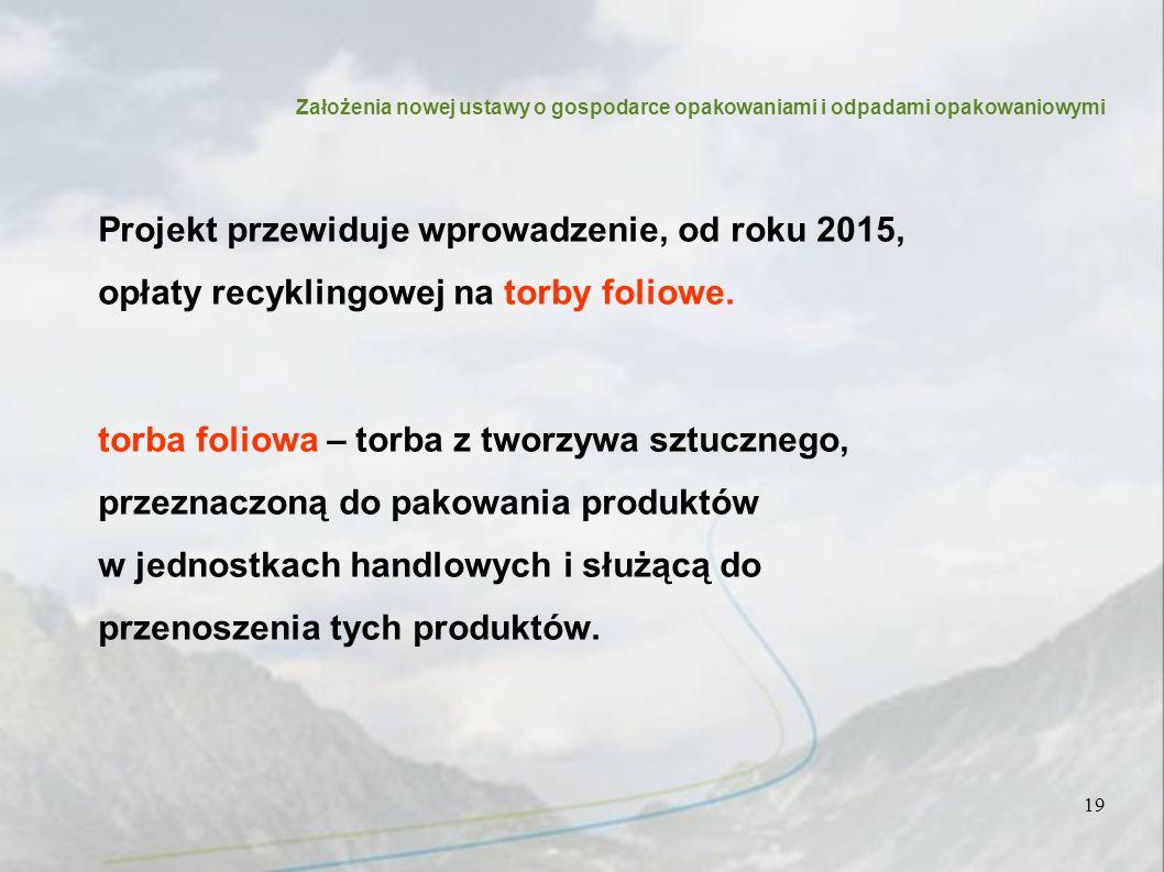 Projekt przewiduje wprowadzenie, od roku 2015, opłaty recyklingowej na torby foliowe.