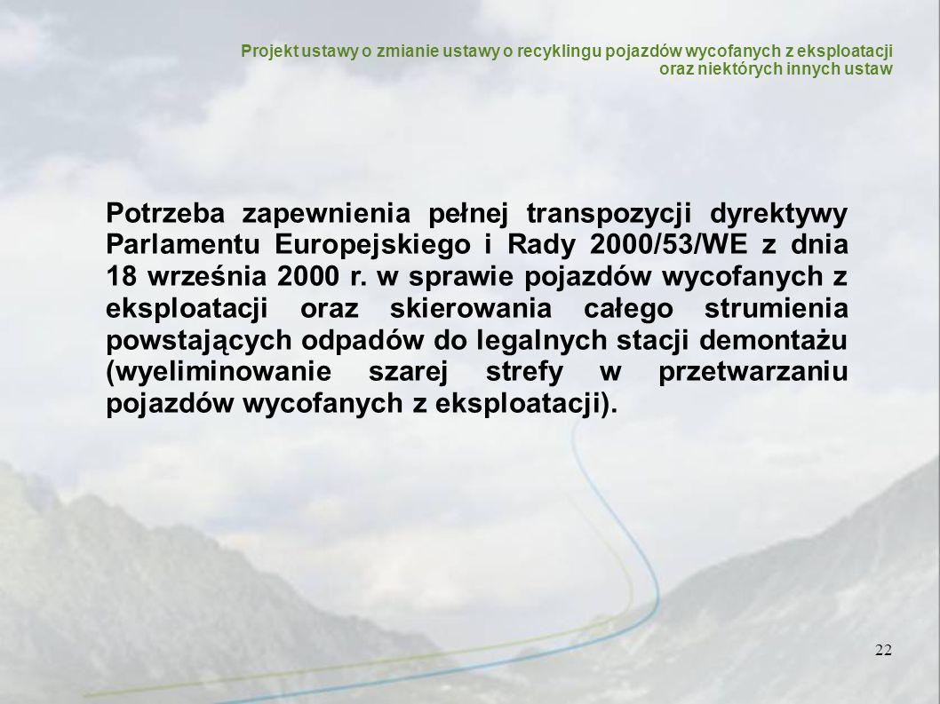 Projekt ustawy o zmianie ustawy o recyklingu pojazdów wycofanych z eksploatacji oraz niektórych innych ustaw 22 Potrzeba zapewnienia pełnej transpozycji dyrektywy Parlamentu Europejskiego i Rady 2000/53/WE z dnia 18 września 2000 r.