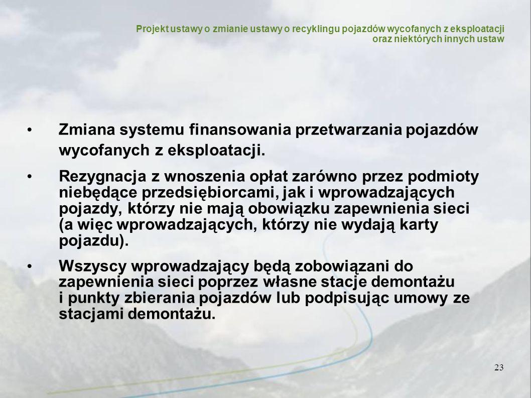 23 Zmiana systemu finansowania przetwarzania pojazdów wycofanych z eksploatacji.