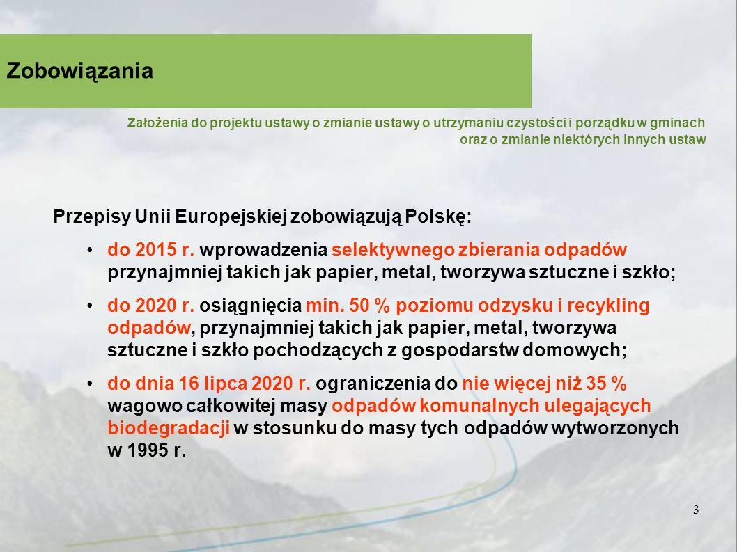 3 Przepisy Unii Europejskiej zobowiązują Polskę: do 2015 r.