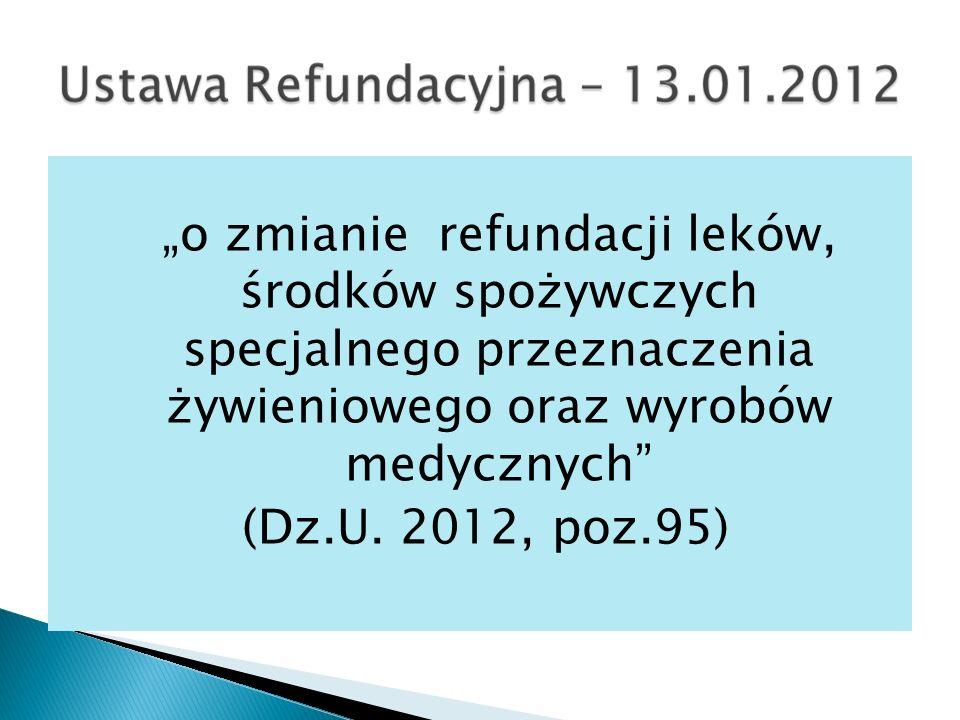 o zmianie refundacji leków, środków spożywczych specjalnego przeznaczenia żywieniowego oraz wyrobów medycznych (Dz.U.