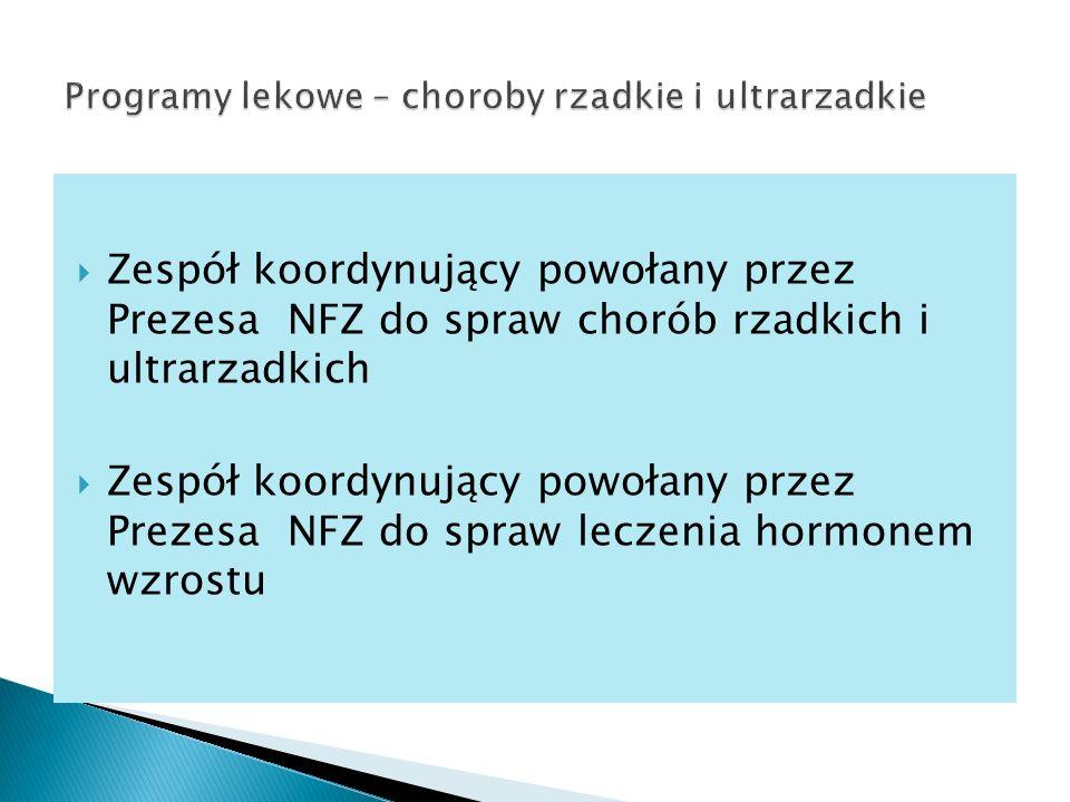 Zespół koordynujący powołany przez Prezesa NFZ do spraw chorób rzadkich i ultrarzadkich Zespół koordynujący powołany przez Prezesa NFZ do spraw leczenia hormonem wzrostu