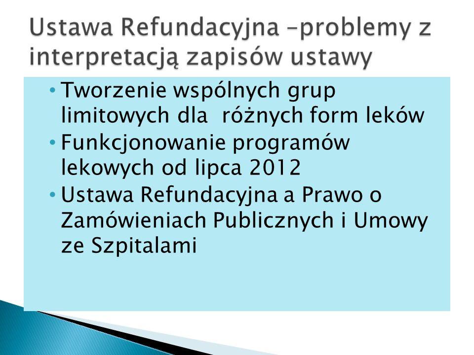Tworzenie wspólnych grup limitowych dla różnych form leków Funkcjonowanie programów lekowych od lipca 2012 Ustawa Refundacyjna a Prawo o Zamówieniach Publicznych i Umowy ze Szpitalami