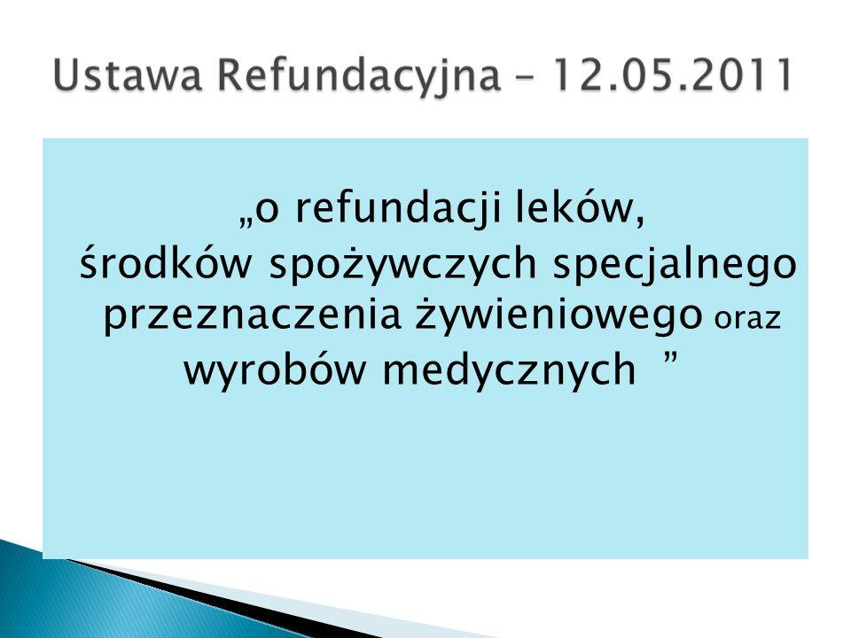 o refundacji leków, środków spożywczych specjalnego przeznaczenia żywieniowego oraz wyrobów medycznych