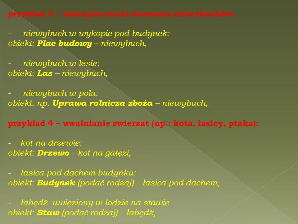 przykład 3 – zabezpieczenie usuwania niewybuchów: - niewybuch w wykopie pod budynek: obiekt: Plac budowy – niewybuch, - niewybuch w lesie: obiekt: Las