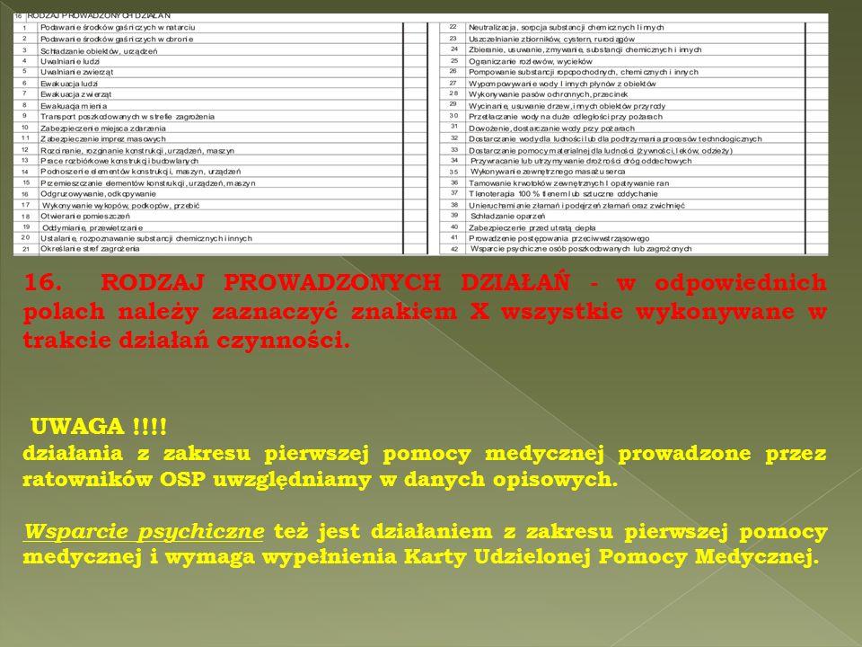 16. RODZAJ PROWADZONYCH DZIAŁAŃ - w odpowiednich polach należy zaznaczyć znakiem X wszystkie wykonywane w trakcie działań czynności. UWAGA !!!! działa