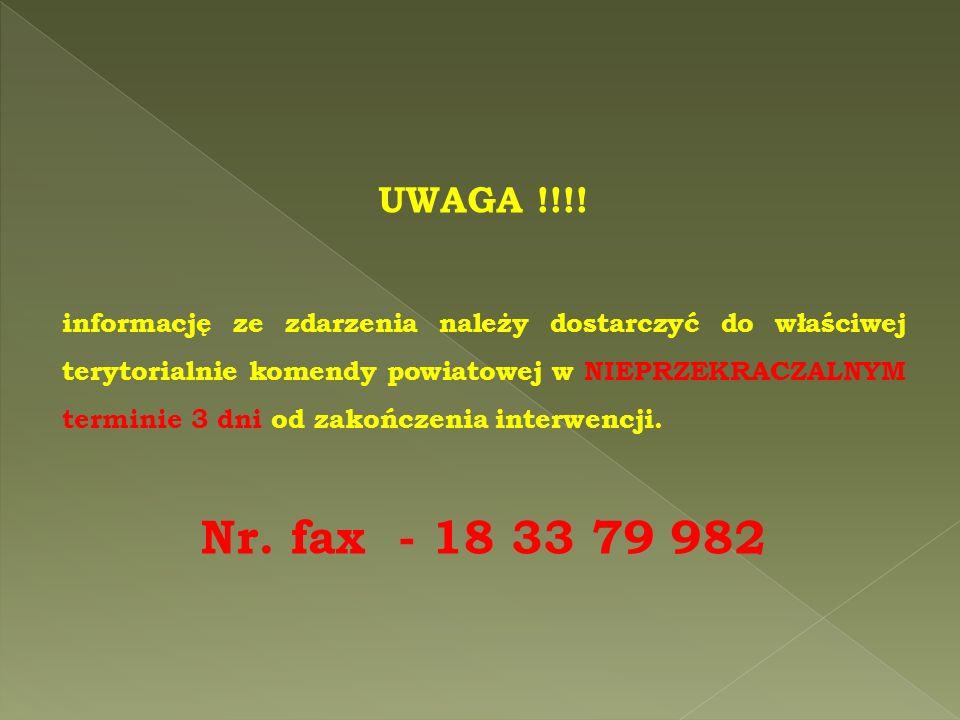 UWAGA !!!! informację ze zdarzenia należy dostarczyć do właściwej terytorialnie komendy powiatowej w NIEPRZEKRACZALNYM terminie 3 dni od zakończenia i