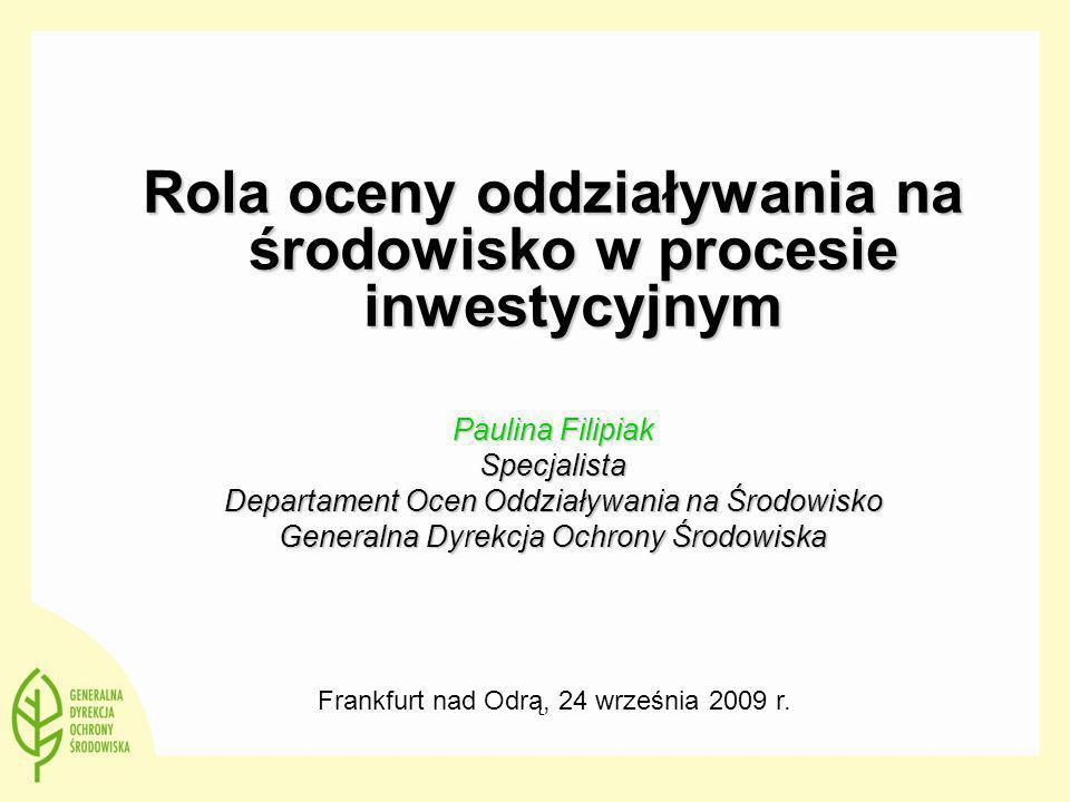 Rola oceny oddziaływania na środowisko w procesie inwestycyjnym Paulina Filipiak Specjalista Departament Ocen Oddziaływania na Środowisko Generalna Dy
