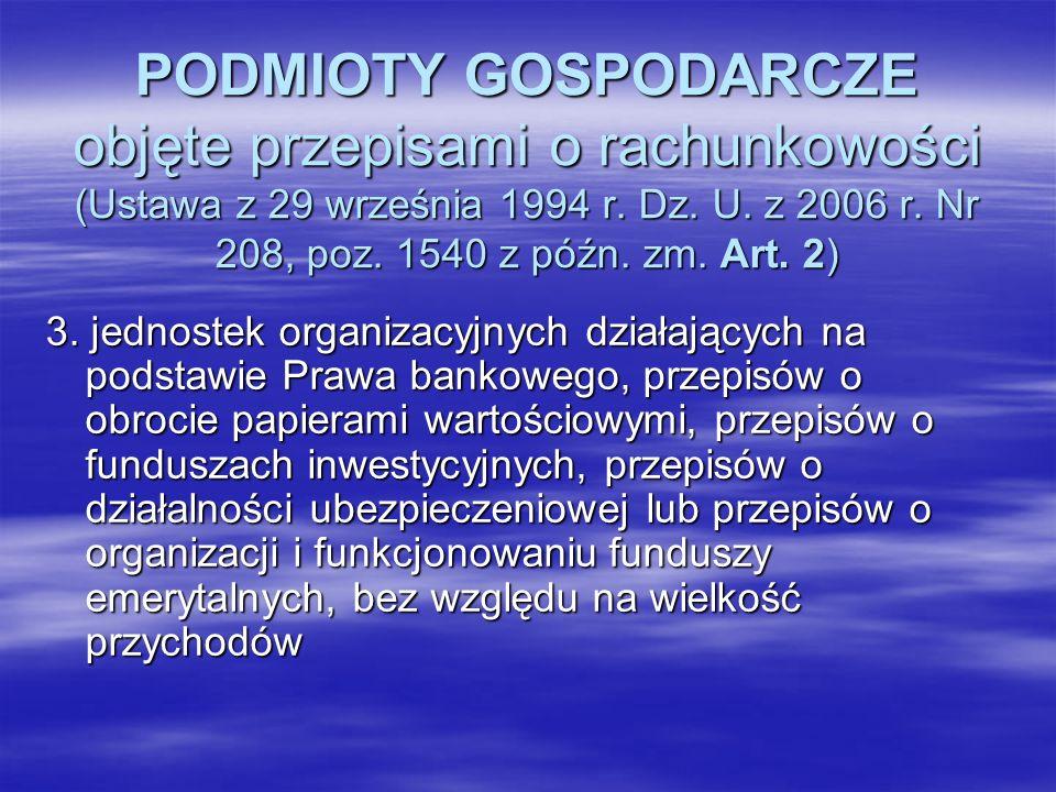 PODMIOTY GOSPODARCZE objęte przepisami o rachunkowości (Ustawa z 29 września 1994 r. Dz. U. z 2006 r. Nr 208, poz. 1540 z późn. zm. Art. 2) 3. jednost