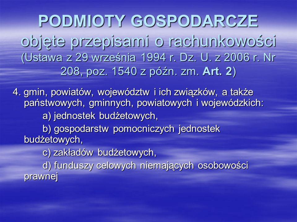 PODMIOTY GOSPODARCZE objęte przepisami o rachunkowości (Ustawa z 29 września 1994 r. Dz. U. z 2006 r. Nr 208, poz. 1540 z późn. zm. Art. 2) 4. gmin, p