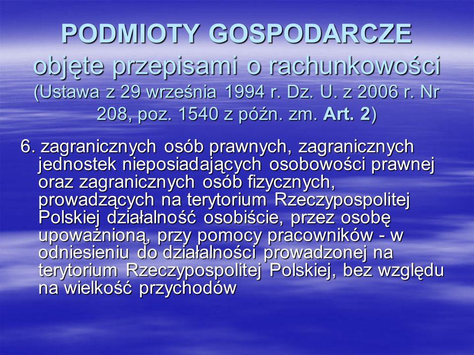 PODMIOTY GOSPODARCZE objęte przepisami o rachunkowości (Ustawa z 29 września 1994 r. Dz. U. z 2006 r. Nr 208, poz. 1540 z późn. zm. Art. 2) 6. zagrani
