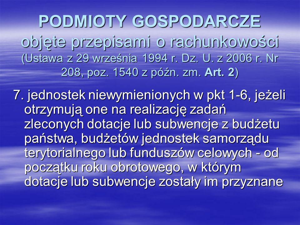PODMIOTY GOSPODARCZE objęte przepisami o rachunkowości (Ustawa z 29 września 1994 r. Dz. U. z 2006 r. Nr 208, poz. 1540 z późn. zm. Art. 2) 7. jednost