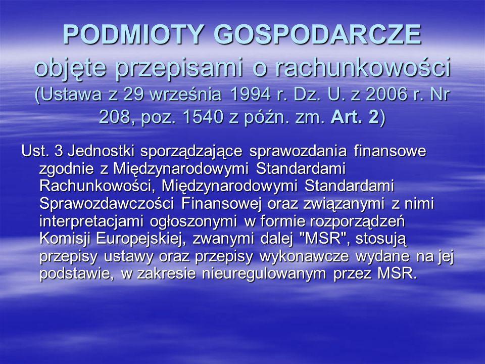 PODMIOTY GOSPODARCZE objęte przepisami o rachunkowości (Ustawa z 29 września 1994 r. Dz. U. z 2006 r. Nr 208, poz. 1540 z późn. zm. Art. 2) Ust. 3 Jed