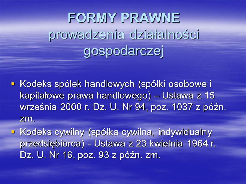 FORMY PRAWNE prowadzenia działalności gospodarczej Kodeks spółek handlowych (spółki osobowe i kapitałowe prawa handlowego) – Ustawa z 15 września 2000