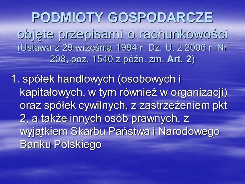 PODMIOTY GOSPODARCZE objęte przepisami o rachunkowości (Ustawa z 29 września 1994 r. Dz. U. z 2006 r. Nr 208, poz. 1540 z późn. zm. Art. 2) 1. spółek