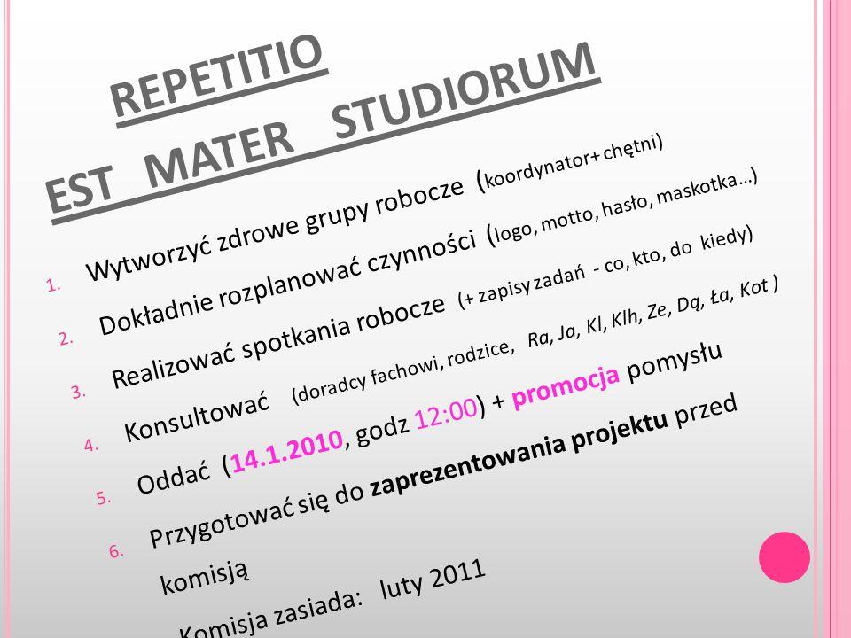 REPETITIO EST MATER STUDIORUM 1. W y t w o r z y ć z d r o w e g r u p y r o b o c z e ( k o o r d y n a t o r + c h ę t n i ) 2. D o k ł a d n i e r
