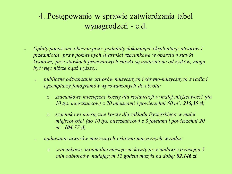 4. Postępowanie w sprawie zatwierdzania tabel wynagrodzeń - c.d. o Opłaty ponoszone obecnie przez podmioty dokonujące eksploatacji utworów i przedmiot