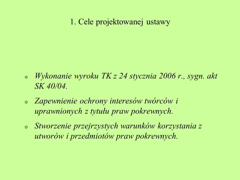 1. Cele projektowanej ustawy Wykonanie wyroku TK z 24 stycznia 2006 r., sygn. akt SK 40/04. Zapewnienie ochrony interesów twórców i uprawnionych z tyt