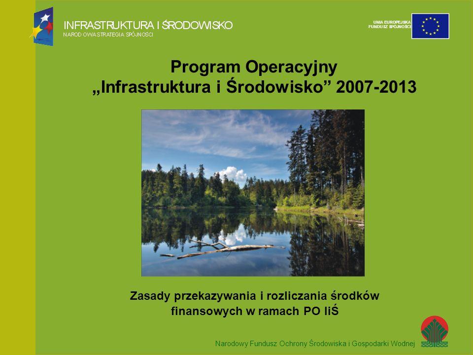 Narodowy Fundusz Ochrony Środowiska i Gospodarki Wodnej UNIA EUROPEJSKA FUNDUSZ SPÓJNOŚCI Program Operacyjny Infrastruktura i Środowisko 2007-2013 Zasady przekazywania i rozliczania środków finansowych w ramach PO IiŚ Narodowy Fundusz Ochrony Środowiska i Gospodarki Wodnej UNIA EUROPEJSKA FUNDUSZ SPÓJNOŚCI
